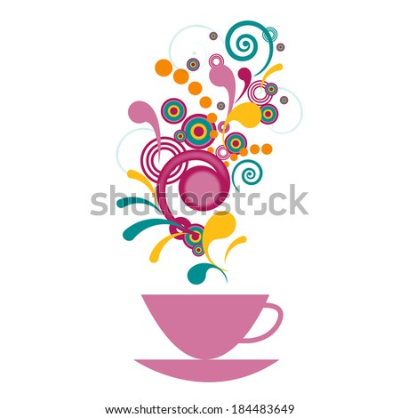Bright cup with a fragrant drink