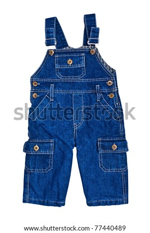 Bright dark blue children's jeans on straps - stock photo