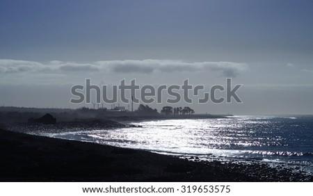 Bright dawn, coast of Gran canaria, Canary islands - stock photo