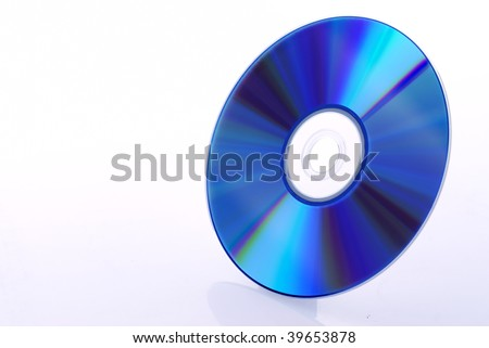 Bright disc cd/dvd on the white background. - stock photo