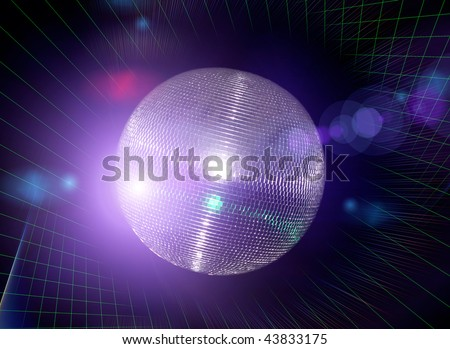 Bright disco ball against  a laser beams - stock photo