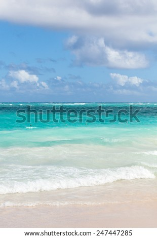 Bright empty vertical coastal landscape. Atlantic ocean coast, Dominican republic. Punta Cana - stock photo