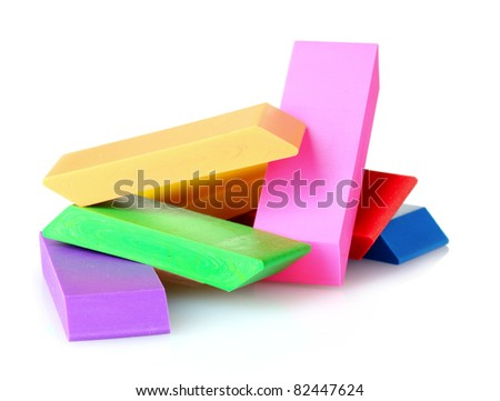 bright erasers isolated on white - stock photo