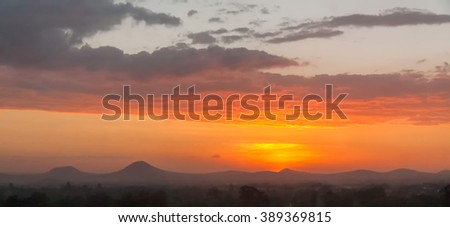 Bright evening glow over mountains. Arusha, Tanzania.