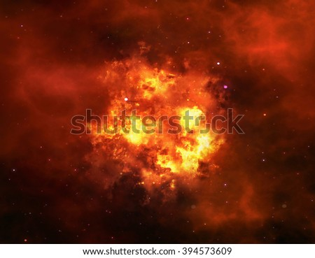 bright explosion flash on space background. fire burst - stock photo