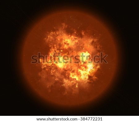 bright explosion flash planet on black backgrounds. fire burst