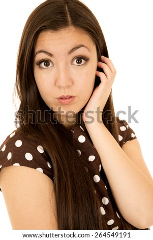 Bright eyed Asian American female looking forward - stock photo