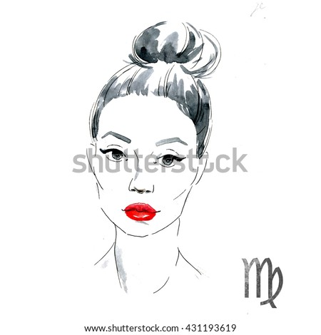 bright fashion illustration, girl with red lips,zodiac sign, watercolor illustration of woman,Virgo - stock photo