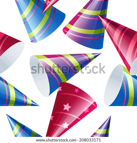 Bright festive seamless pattern with funny colored caps. Raster illustration - stock photo
