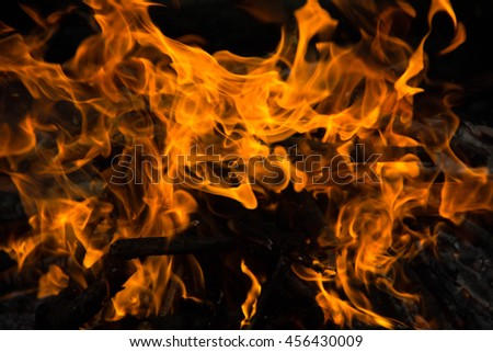 Bright fire bonfire in the spring forest. - stock photo