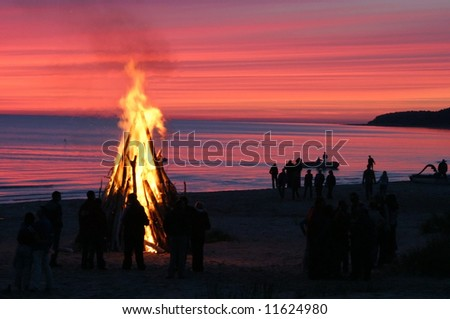 bright fire on a nightly coast - stock photo