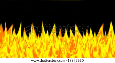 bright fire over black background - stock photo