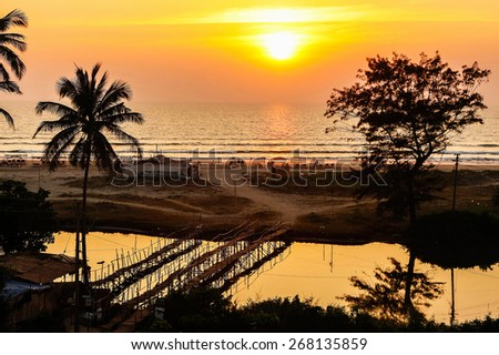 bright fishing boats on the river bank in tropic with palms and blue sky. Goa, India - stock photo