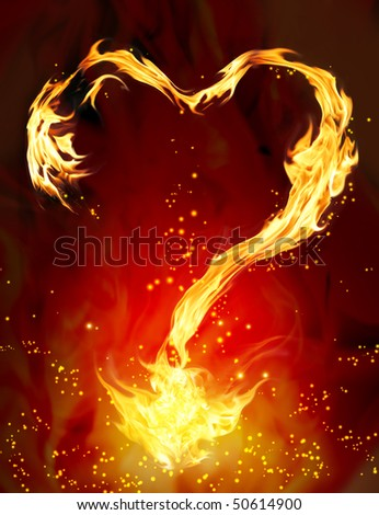 Bright flame in the form of heart - stock photo