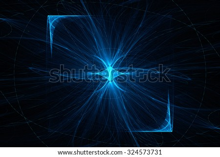 Bright flash of light with missing beams. Abstract image. Fractal Wallpaper on your desktop. Digital artwork for creative graphic design. Dark background. - stock photo