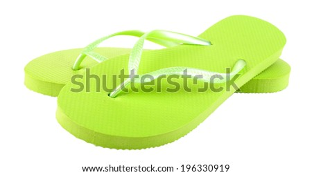 Bright flip-flops isolated on white  - stock photo