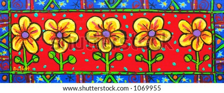 Bright floral banner Country style - stock photo