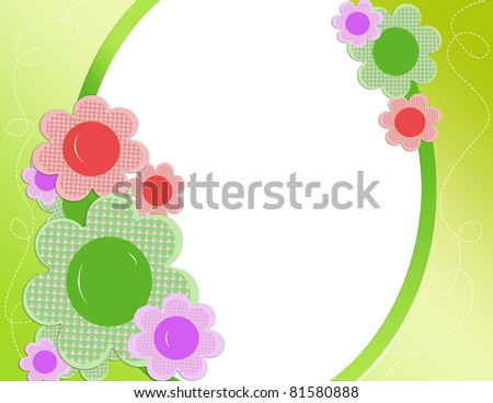 Bright floral frame - stock photo