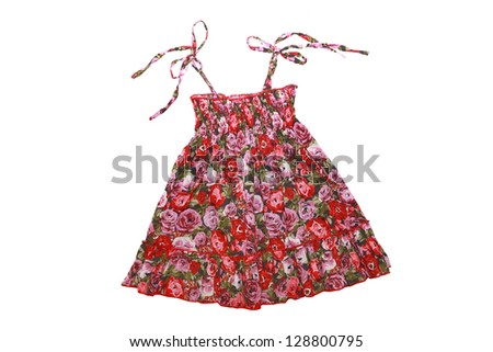Bright flower dress for girl isolated on white - stock photo