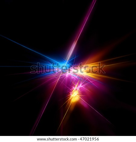 Bright fractal on black - stock photo