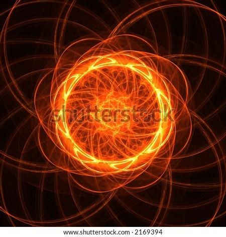 Bright fractal sun flower - stock photo
