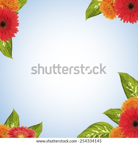 Bright frame made of flowers and leaves with space for text - stock photo