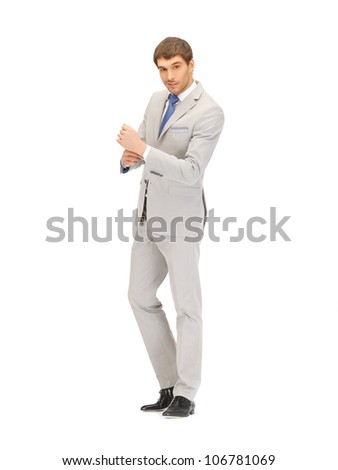 bright full length picture of handsome man - stock photo