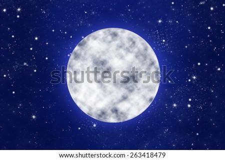 bright full moon on blue night sky with stars, illustration - stock photo