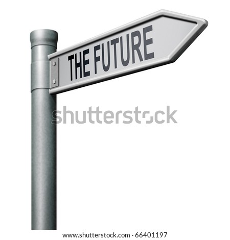 bright future ahead road sign indicating direction to a happy future button icon isolated arrow - stock photo
