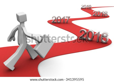 Bright future success concept 2016 3d illustration - stock photo