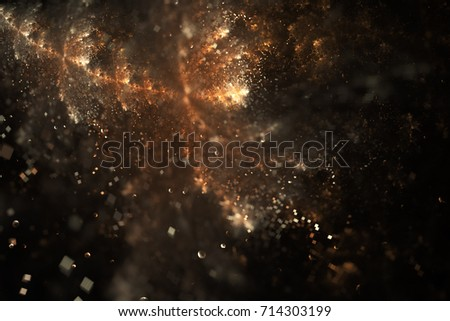 Bright galaxy. Abstract golden drops and sparkles on black background. Fantasy fractal texture. Digital art. 3D rendering.