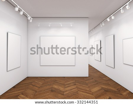 Bright gallery with blank posters. 3d rendering
