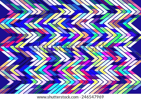 Bright geometric abstract with multicolored zigzags in a snazzy pattern on dark blue background - stock photo