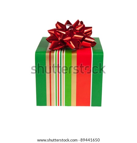 bright gift box isolated on white background