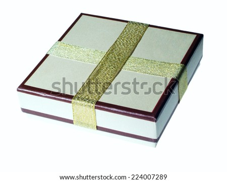 Bright gift box with ribbons - stock photo
