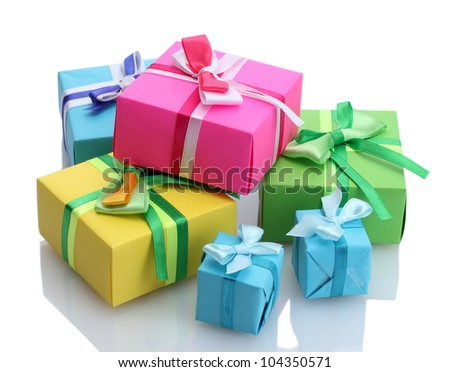 bright gifts with bows isolated on white - stock photo