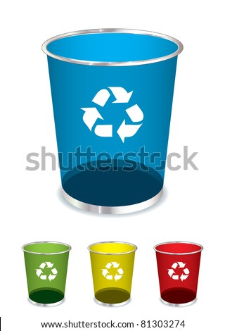 Bright glass recycle trash can icons or symbols - stock photo