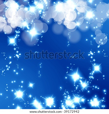 bright glitter on a soft blue background