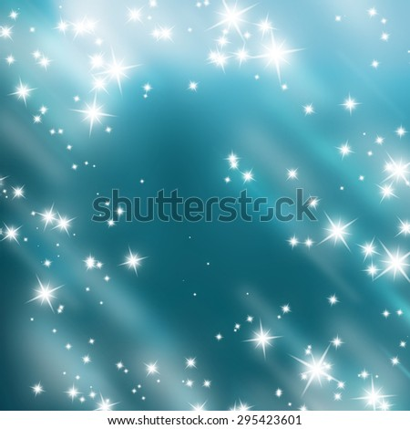 bright glitters on a soft blue background  - stock photo
