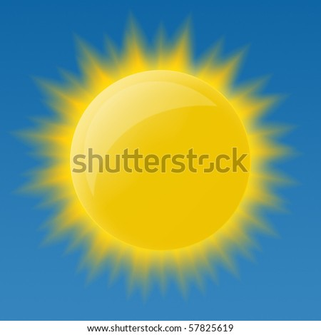 Bright glossy sun on blue background - stock photo