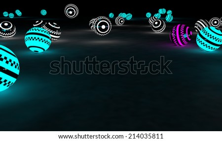 Bright glowing spheres in a random display. Leadership or Be different concept 3D illustration. Space for your text. (Render) - stock photo