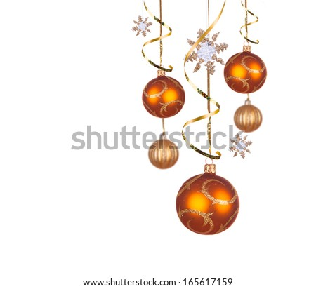 Bright gold Christmas balls isolated on the white background  - stock photo