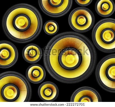 bright gold color speaker background - stock photo