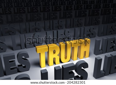 """Bright, gold """"TRUTH"""" weighs one end of a gray balance beam down while a gray """"LIES"""" sits high in the air on the other end. Isolated on white. - stock photo"""
