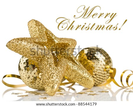 Bright golden christmas composition with balls and stars with sample text isolated on white background - stock photo