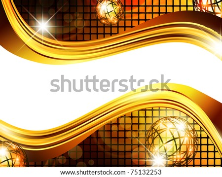 bright golden mosaic wavy background with stars and copy space for your text - stock photo