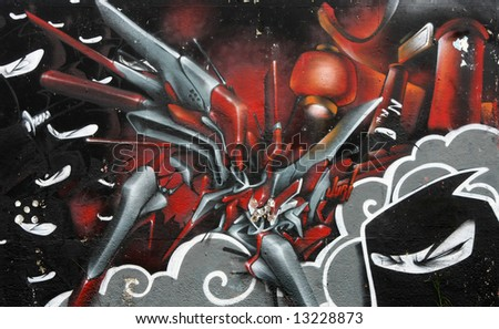 Bright Graffiti Art - ninja mural - stock photo