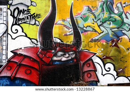 Bright Graffiti Art - samurai mural - stock photo