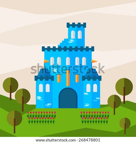 Bright graphic illustration with cartoon blue colored castle for use in design for card, invitation, banner, poster or placard background. Raster copy. - stock photo