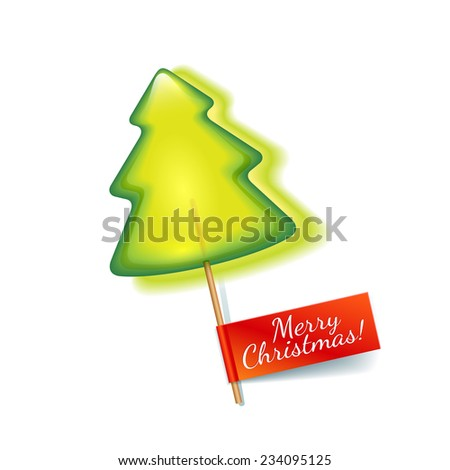 Bright green christmas tree lollipop isolated on a white background with red label a Merry Christmas - stock photo